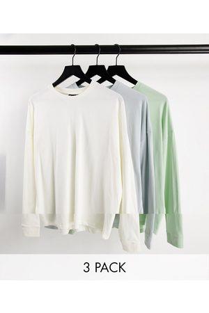 ASOS 3 pack oversized long sleeve t-shirt-Multi