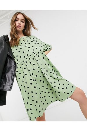 ASOS Super oversized frill sleeve smock in sage and black spot print