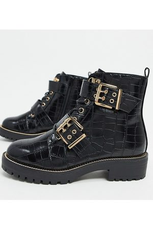 ASOS Wide Fit Aubrey lace up boots in croc