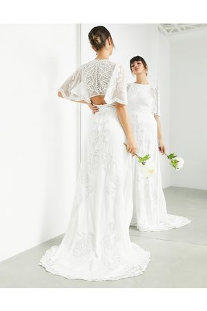 ASOS Savannah vintage embroidered wedding dress with flutter sleeve-White