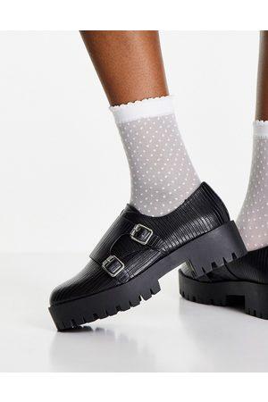 ASOS DESIGN Damen Elegante Schuhe - Misty chunky monk shoes in black lizard