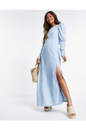 ASOS DESIGN Soft denim open back maxi dress in lightwash-Blue