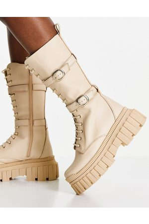 ASOS DESIGN Cosmic premium leather chunky lace up knee boots in -Neutral