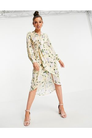 HOPE & IVY Long sleeve twist front kimono high low midi dress in pastel yellow floral