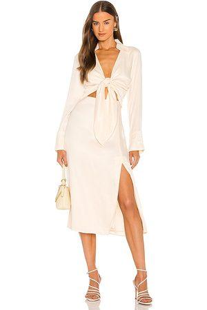 Nicholas Perle Tie Front Long Sleeve Midi Dress with Collar in - Cream. Size 0 (also in 2, 4, 6).
