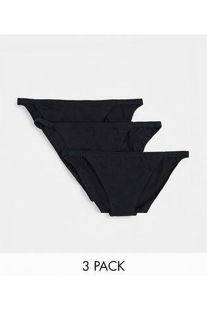 ASOS 3 pack brief in cotton tanga-Black