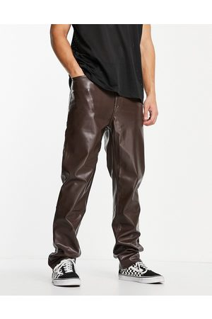 ASOS Dad fit trousers in brown leather look