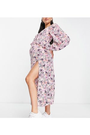 Missguided Ruffle smock midaxi dress in pink floral print