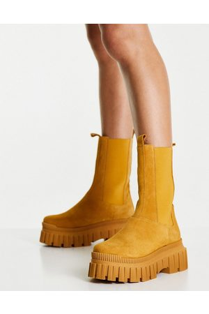 ASOS Damen Stiefeletten - Addison premium suede chunky chelsea boots in camel-Neutral