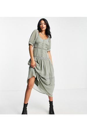 ASOS ASOS DESIGN Tall soft sweetheart neck button through midi dress with lace inserts in deep sage green