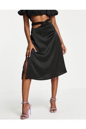 Unique 21 Waist detail midi skirt in black
