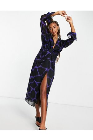 Topshop Woven knot front plunge occasion midi dress in purple