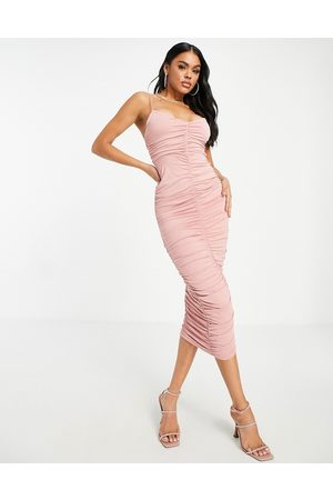 ASOS Cami strappy midi dress with ruched detail in blush-Pink
