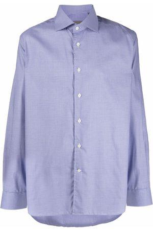 corneliani Micro-check cotton long-sleeve shirt