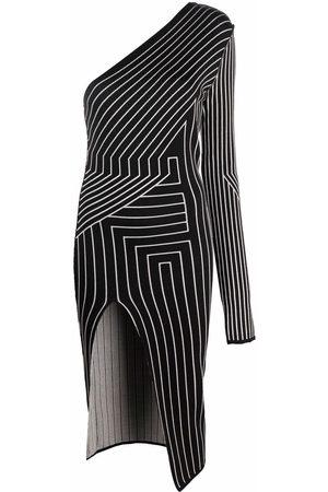 Rick Owens Damen Asymmetrische Kleider - Geometric stripe one-shoulder dress