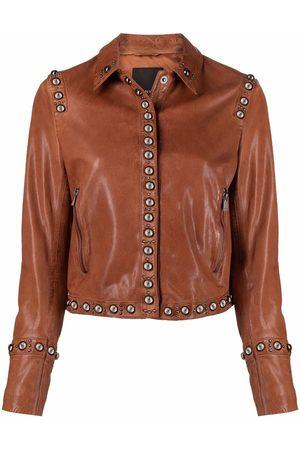 Pinko Stud-embellished leather jacket