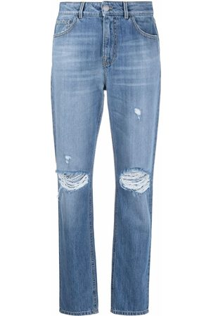 Pinko Ripped-detail slim-fit jeans