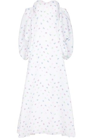 Rosie Assoulin Floral-embroidered off-shoulder maxi dress