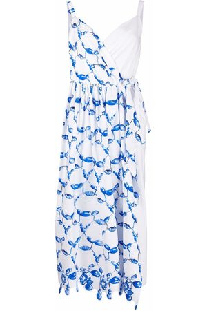 Rosie Assoulin Damen Asymmetrische Kleider - Abstract-print asymmetric-wrap dress