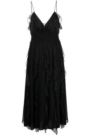 Alice+Olivia Ruffled lace midi dress