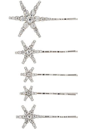 Jennifer Behr Vespera Bobby Pin Set in - Metallic Silver. Size all.
