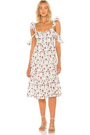 MAJORELLE Angel Midi Dress in - Ivory. Size L (also in M, S, XL, XS, XXS).