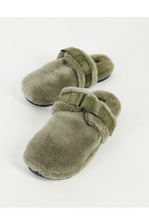 Ugg Fluff it sheepskin slippers in olive green