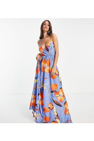 ASOS Tall ASOS DESIGN Tall cami plunge tie back maxi dress in floral print-Multi