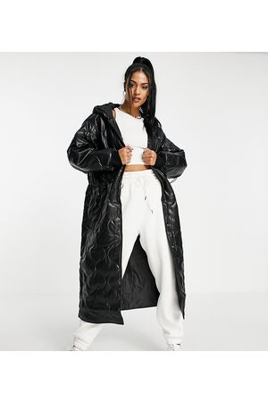 ASOS ASOS DESIGN Tall faux leather quilted hooded puffer coat in black