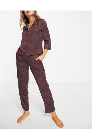 Vero Moda Damen Schlafanzüge - Satin piped pyjama set in burgundy spot-Red