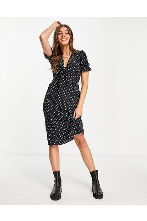 Miss Selfridge Bunny tie front midi dress in spot print-Black