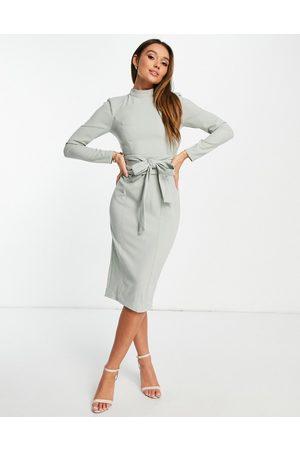 ASOS Damen Midikleider - Long sleeve midi dress with obi belt in sage green