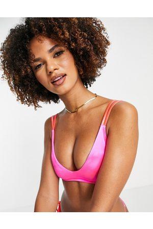 ASOS DESIGN Damen Bikinis - Double strap crop bikini top in pink mirror satin