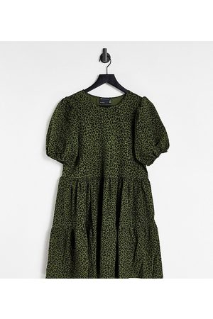 ASOS Tall ASOS DESIGN Tall mini tiered smock dress in black khaki leopard print-Green