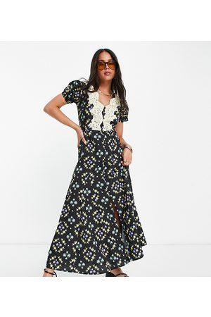 Reclaimed Damen Freizeitkleider - Inspired midi tea dress with lace detail-Multi