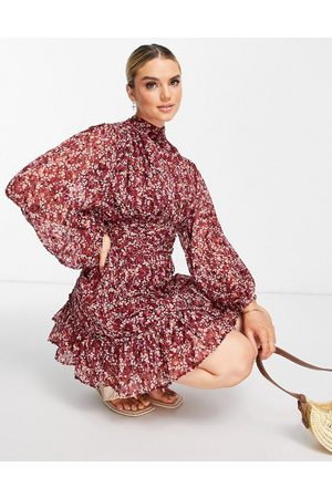 River Island Damen Freizeitkleider - Floral ruched mini dress in pink