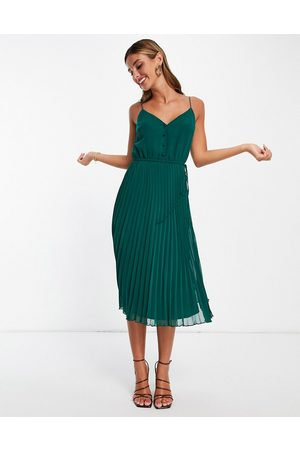 ASOS Button front pleated cami midi dress with drawstring waist in forest green