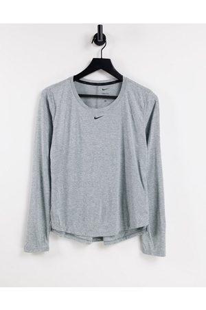 Nike Training Damen Lange Ärmel - One Dri-Fit long sleeve t-shirt in grey marl