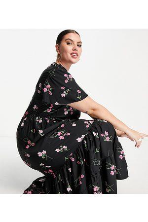 Simply Be Damen Freizeitkleider - High neck maxi dress in black floral-Multi