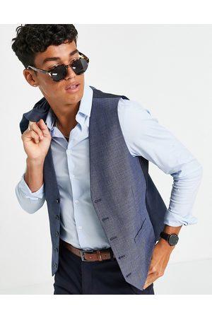 Burton Menswear Burton slim fit check waistcoat in mid blue
