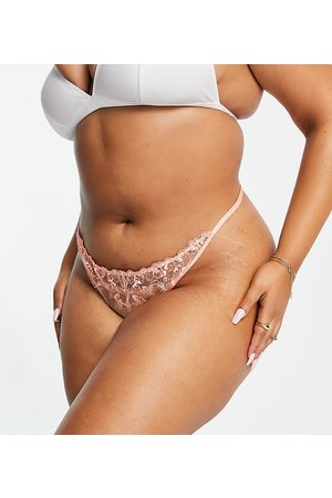ASOS Curve ASOS DESIGN Curve Billie pastel embroidery thong in coral