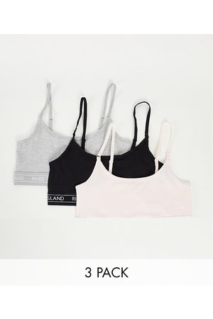 River Island Logo tapeband 3 pack of bralets in grey, pink and black-Multi