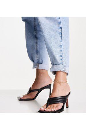 ASOS Wide Fit Herring padded toe thong heeled sandals in black