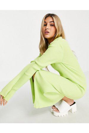 Weekday Damen Freizeitkleider - Riana ecovero knitted dress with zip through in green