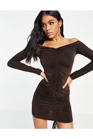 I Saw It First Ruched bardot mini dress in brown