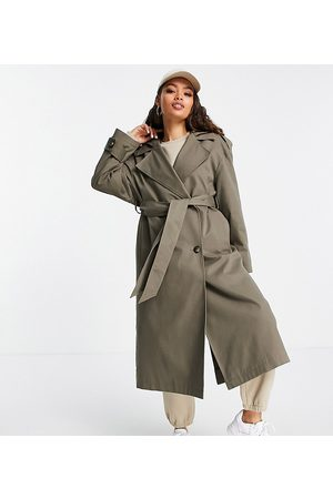 ASOS Petite ASOS DESIGN Petite trench coat with hood in stone-Neutral