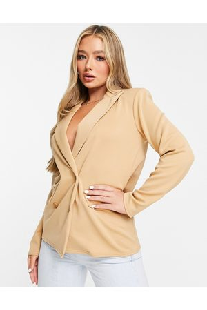 ASOS Structured jersey double breasted blazer in camel-Neutral
