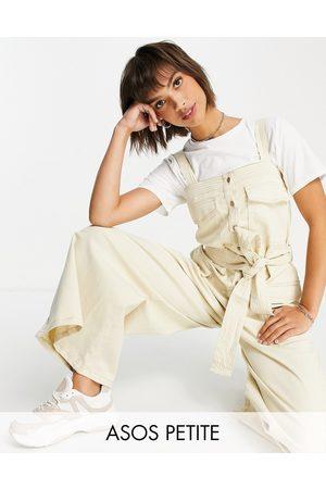 ASOS Petite ASOS DESIGN petite contrast stitch button front dungaree jumpsuit in stone-Neutral