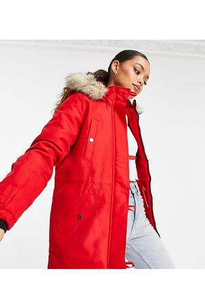 Vero Moda Petite Parka with faux fur lined hood in red