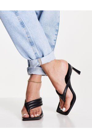 ASOS DESIGN Herring padded toe thong heeled sandals in black